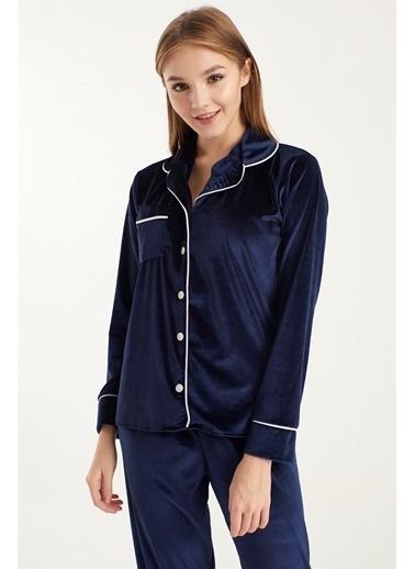 Z Giyim Kadife Pijama Takımı [3874] Lacivert